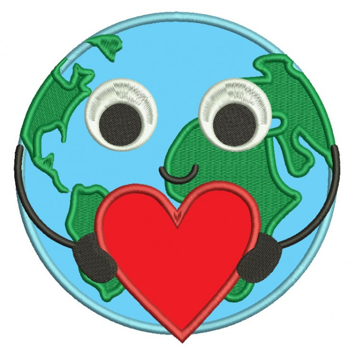 Love eearth globe map of the world with a big heart applique machine love eearth globe map of the world with a big heart applique machine embroidery digitized design pattern gumiabroncs Image collections