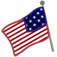 American Flag Applique Machine Embroidery Digitized Design Pattern