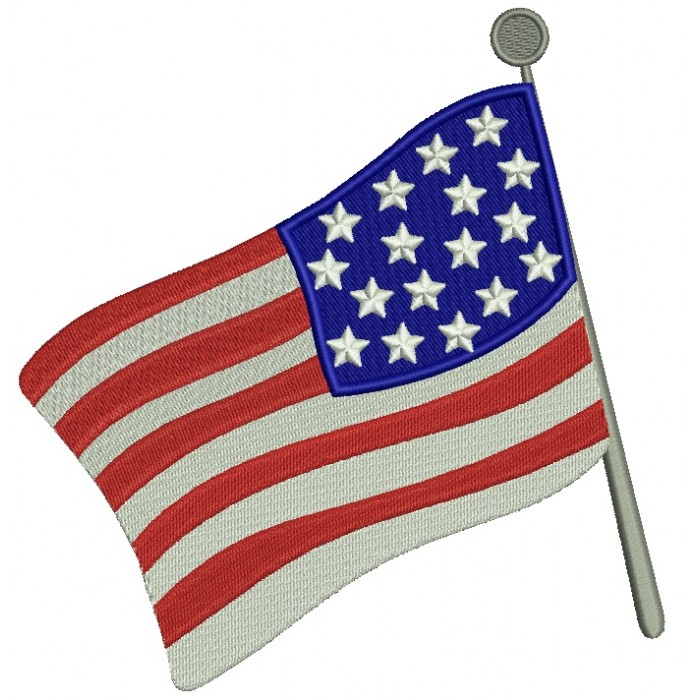 American Flag Filled Machine Embroidery Digitized Design Pattern