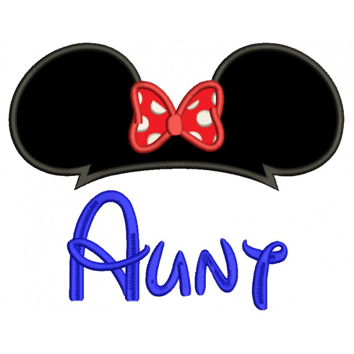 Aunty Mouse Ears looks like Minnie Mouse Applique Machine Embroidery Digitized Design Pattern