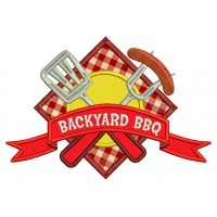 Backyard BBQ Food With Fork and Sausage Applique Machine Embroidery Digitized Design Pattern
