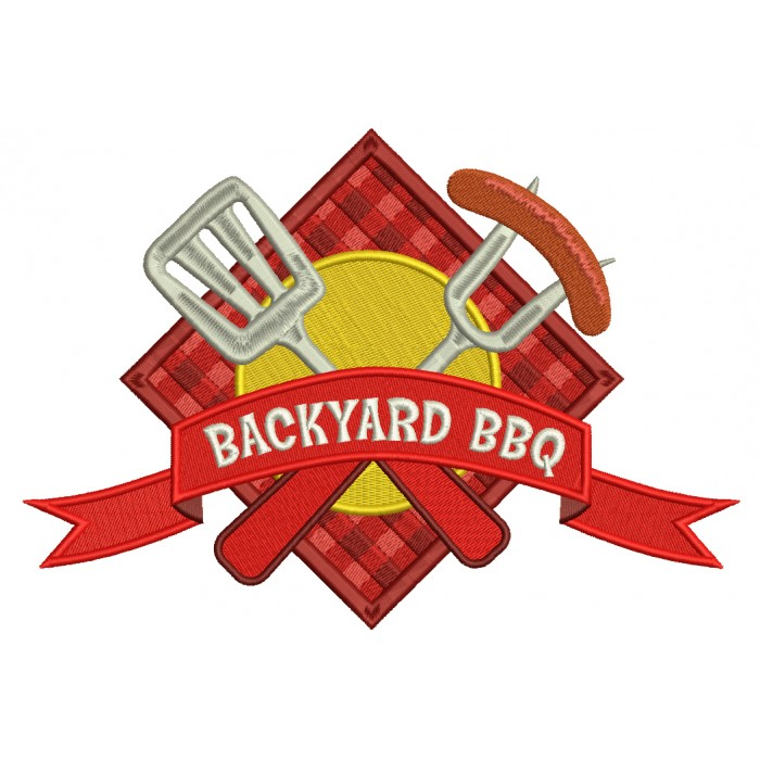Backyard BBQ Food With Fork and Sausage Filled Machine Embroidery Digitized Design Pattern