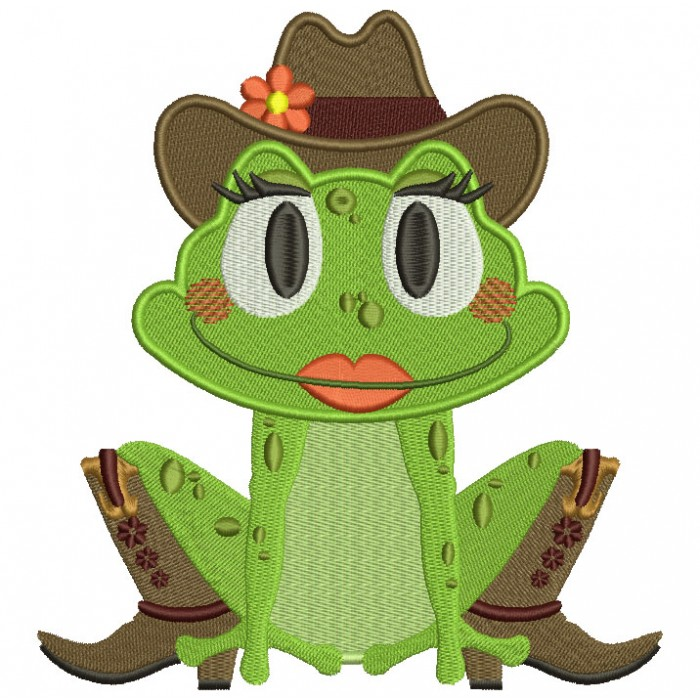 Cowboy Frog Filled Machine Embroidery Digitized Design Pattern