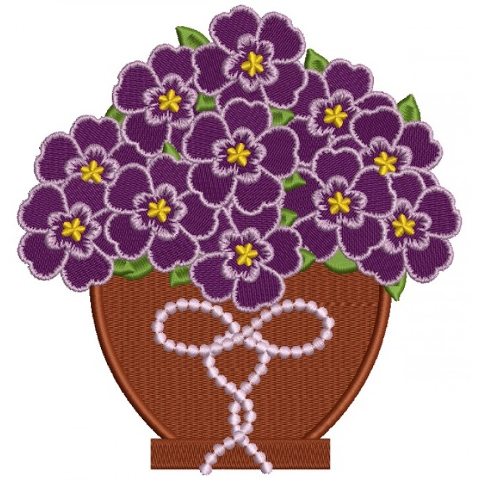 Purple Flowers In The Pot Filled Machine Embroidery Design Digitized Pattern