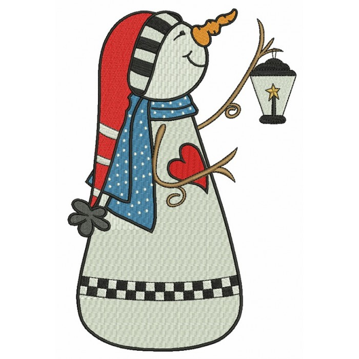 Snowman Holding Lantern Christmas Filled Machine Embroidery Design Digitized Pattern