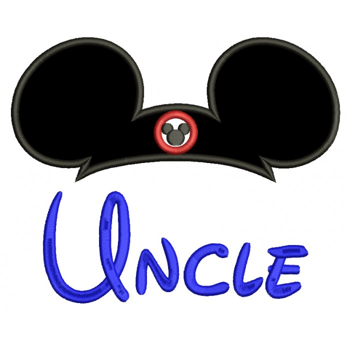 Uncle Mouse Ears looks like Mickey Mouse Applique Machine Embroidery Digitized Design Pattern