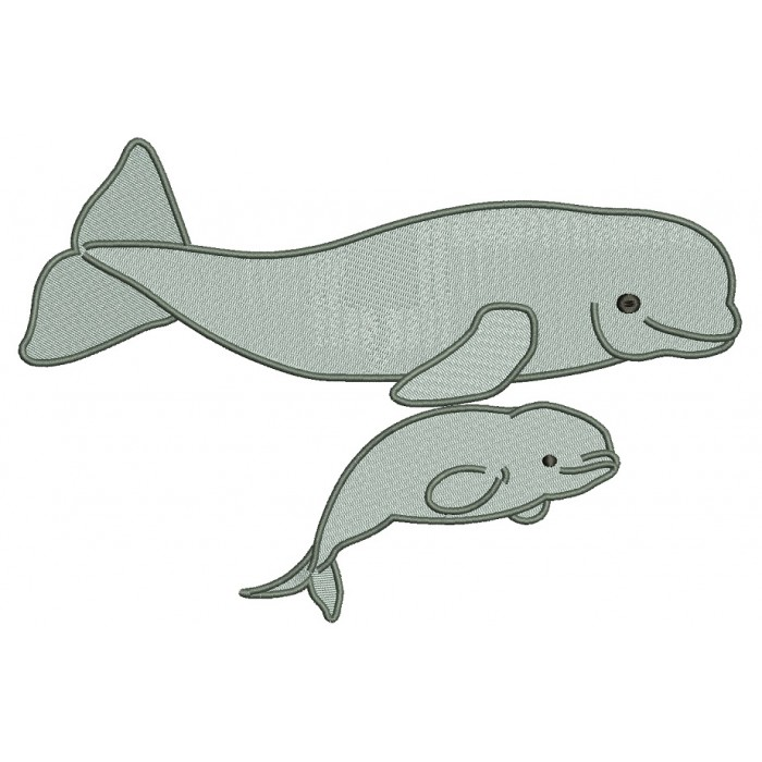 Beluga Whale Filled Machine Embroidery Design Digitized Pattern