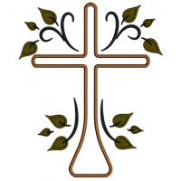 Cross With Leaves Religious Applique Machine Embroidery Design Digitized Pattern