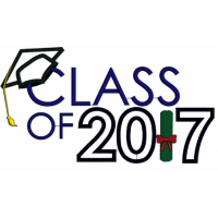 Graduation Class of 2017 School Applique Machine Embroidery Digitized Design Pattern