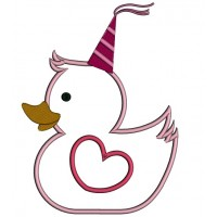 Happy Birthday Princess Rubber Ducky Applique Machine Embroidery Design Digitized Pattern