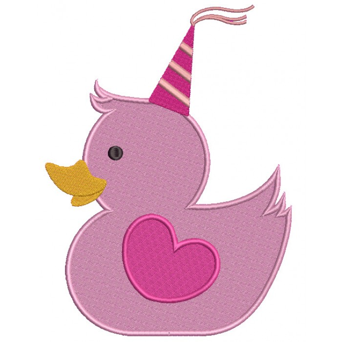 Happy Birthday Princess Rubber Ducky Filled Machine Embroidery Design Digitized Pattern