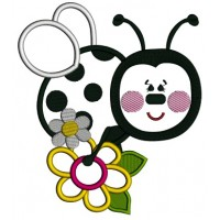 Ladybug Sitting on a Big Flower Applique Machine Embroidery Design Digitized Pattern