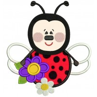 Ladybug With a Big Flower Applique Machine Embroidery Design Digitized Pattern