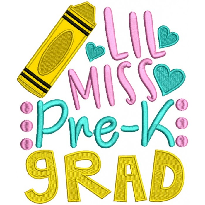 Little Miss Pre K Grad School Applique Machine Embroidery Design