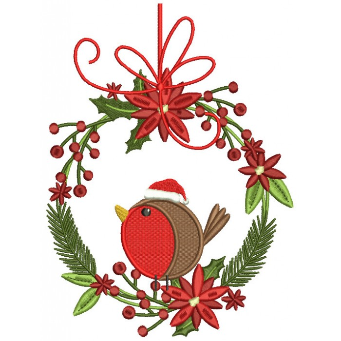 Red Robin Sitting On Christmas Wreath Filled Machine Embroidery Design Digitized Pattern