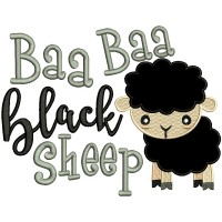 Baa Baa Black Sheep Applique Machine Embroidery Design Digitized Pattern