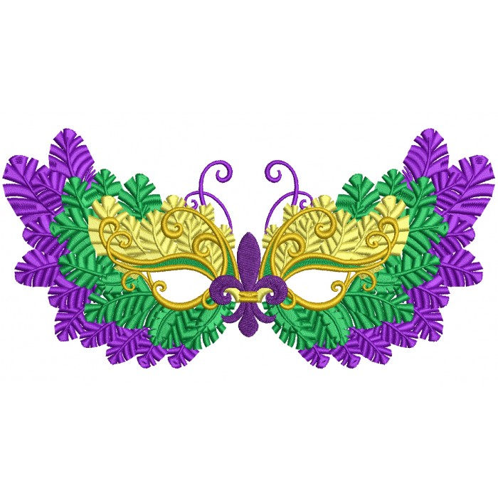Mardi Gras Mask With Fleur-de-lis Filled Machine Embroidery Design Digitized Pattern