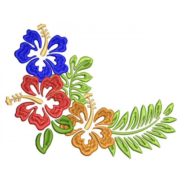 Tropical Summer Hibiscus Filled Machine Embroidery Design Digitized Pattern