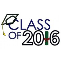 Graduation Class of 2016 School Applique Machine Embroidery Digitized Design Pattern