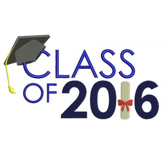 Graduation Class of 2016 School Filled Machine Embroidery Digitized Design Pattern