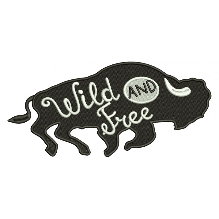Wild And Free Bison Filled Machine Embroidery Design Digitized Pattern