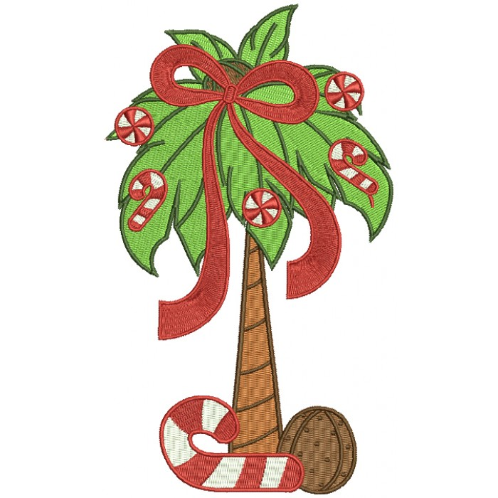 Christmas Palm Tree Filled Machine Embroidery Design Digitized Pattern