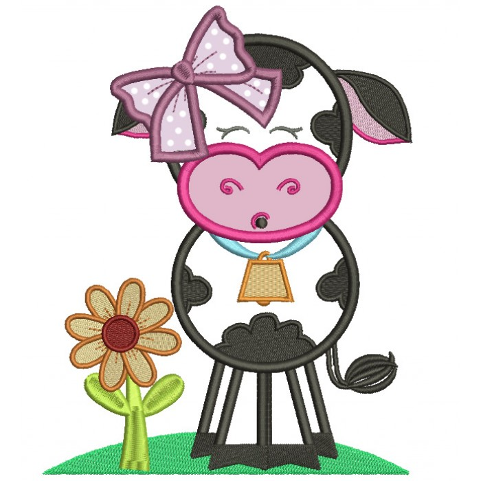Cute Girl Cow With A Big Hair Bow Applique Machine Embroidery Design Digitized Pattern