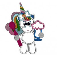 Little Unicorn Eating Ice cream Applique Machine Embroidery Design Digitized Pattern