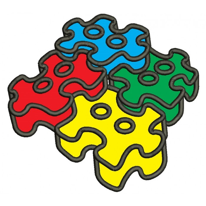3D Autism Awareness Puzzle Applique Machine Embroidery Design Digitized Pattern