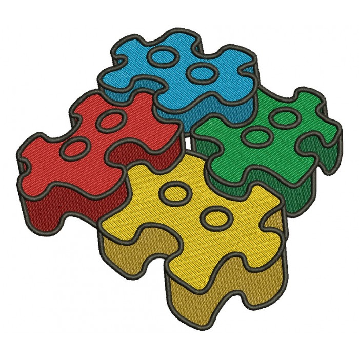 3D Autism Awareness Puzzle Filled Machine Embroidery Design Digitized Pattern