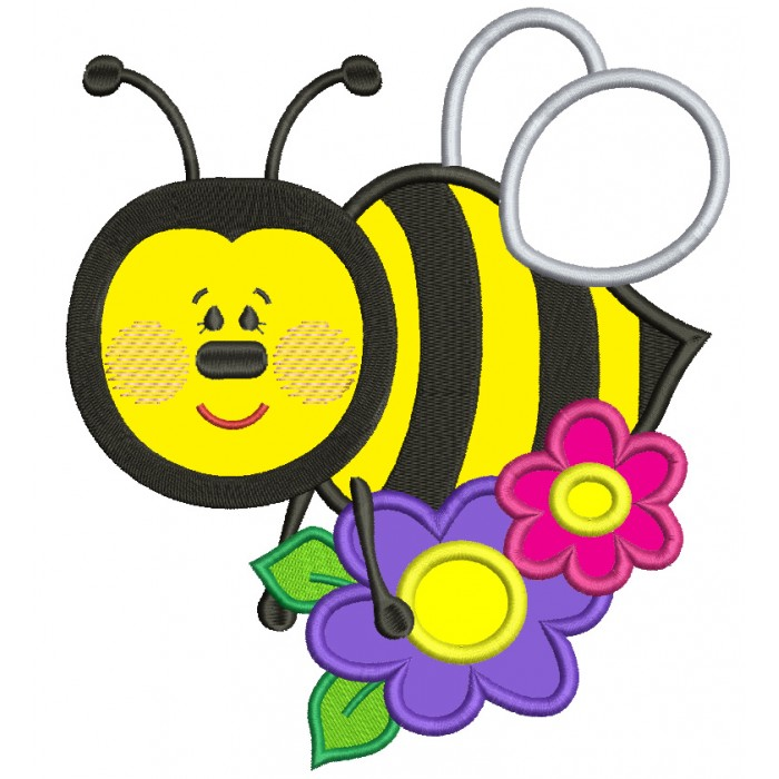 Cute Bumble Bee With A Flower Applique Machine Embroidery Design