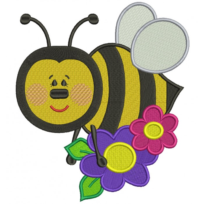 Cute Bumble Bee with a Flower Filled Machine Embroidery Design Digitized Pattern
