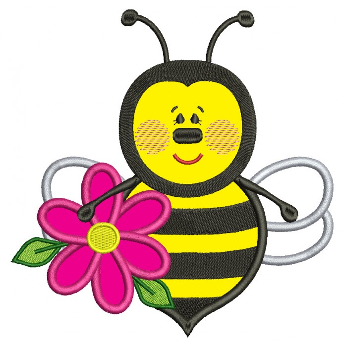 Bumble Bee With a Big Flower Applique Machine Embroidery Design Digitized Pattern