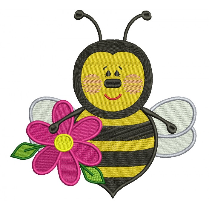Bumble Bee With a Big Flower Filled Machine Embroidery Design Digitized Pattern
