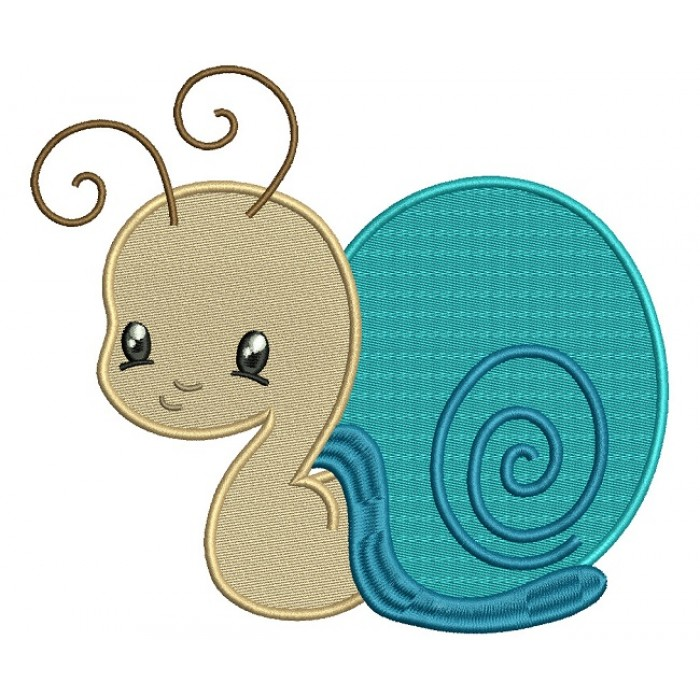 Cute Little Snail Filled Machine Embroidery Design Digitized Pattern