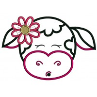 Cute Girl Cow With Big Flower Applique Machine Embroidery Design Digitized Pattern