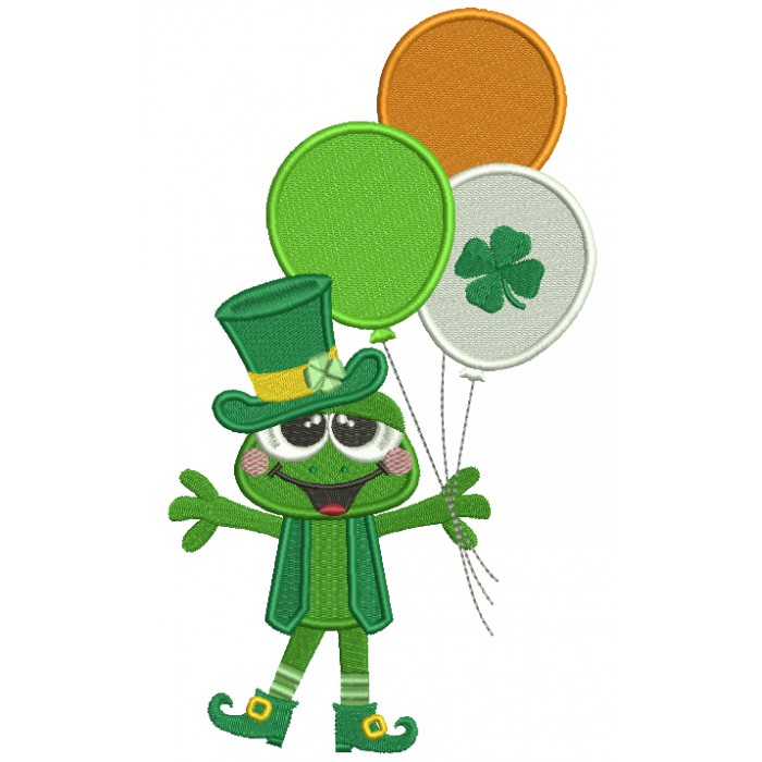 Happy Frog With Shamrock Balloons St. Patrick's Day Filled Machine Embroidery Design Digitized Pattern