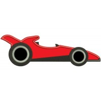 Red Racing Car Applique Machine Embroidery Design Digitized Pattern
