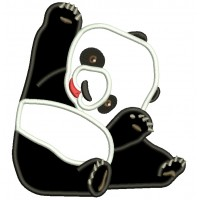 Sitting Baby Panda Applique Machine Embroidery Design Digitized Pattern