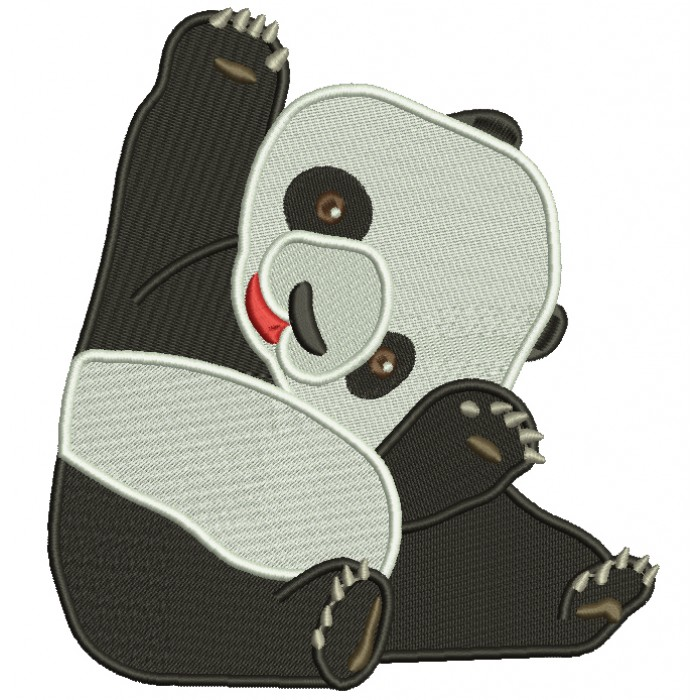 Sitting Baby Panda Filled Machine Embroidery Design Digitized Pattern