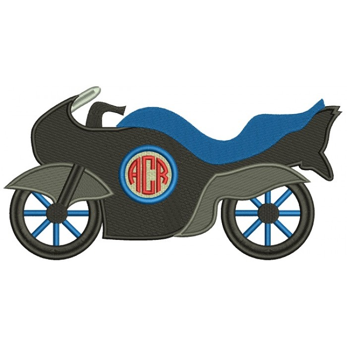 Sports Motorcycle Monogram Filled Machine Embroidery Design Digitized Pattern