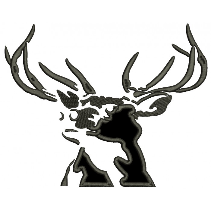 Trophy Buck Hunting Applique Machine Embroidery Design Digitized Pattern