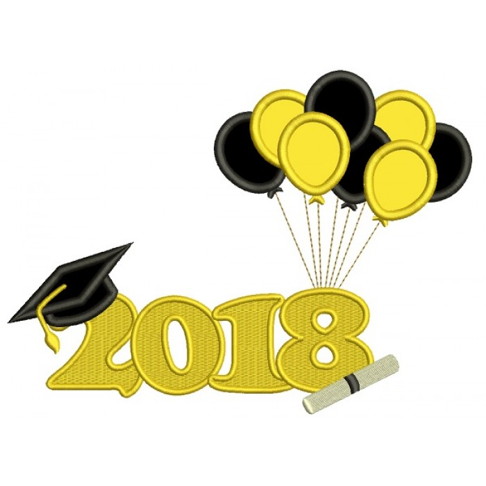 2018 Graduation Balloons Applique Machine Embroidery Design Digitized Pattern
