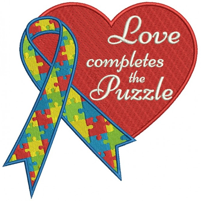 Love Completes The Puzzle Autism Awareness Big Heart Filled Machine Embroidery Design Digitized Pattern