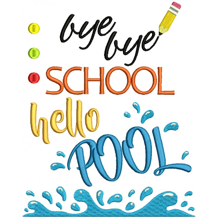 Buy Buy School Hello Pool Filled Machine Embroidery Design Digitized Pattern