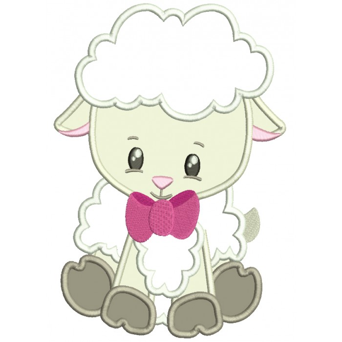 Baby Lamb With A Big Bow Tie Easter Applique Machine Embroidery