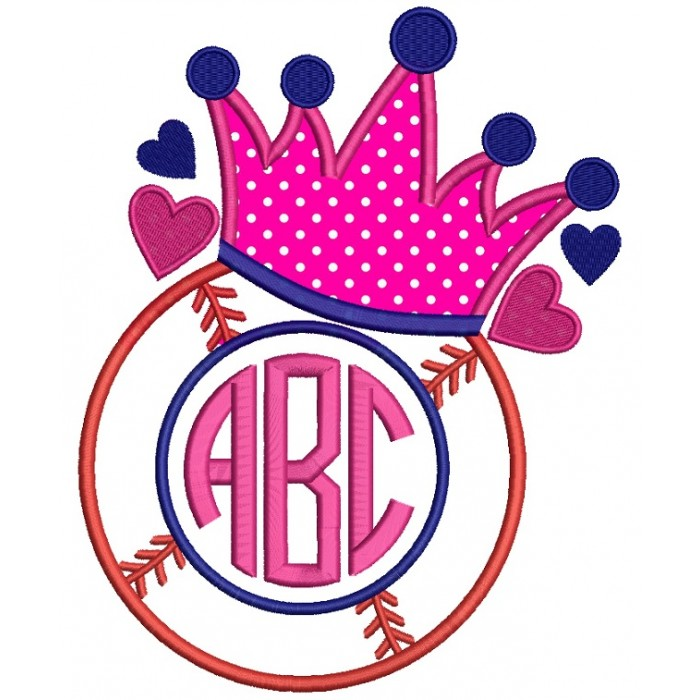 Baseball Crown Monogram Applique Machine Embroidery Design Digitized Pattern