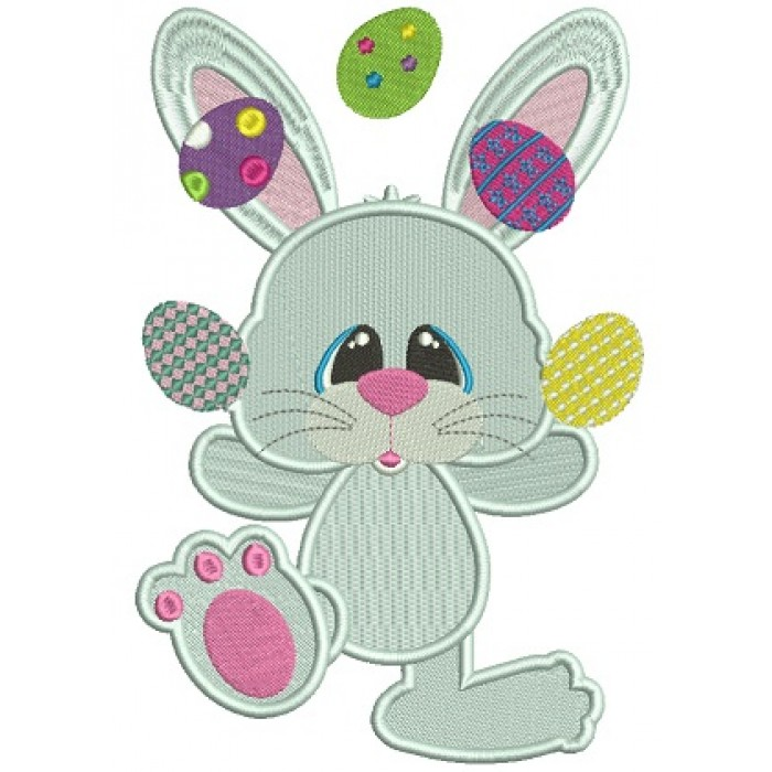 Bunny Juggling Easter Eggs Filled Machine Embroidery Design Digitized Pattern