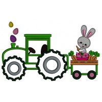 Bunny Rabbit on a Tractor Eating Carrots Applique Machine Embroidery Design Digitized Pattern