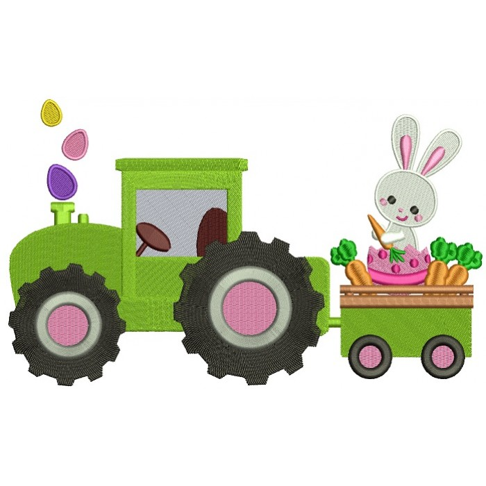 Bunny Rabbit on a Tractor Eating Carrots Filled Machine Embroidery Design Digitized Pattern